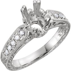 14K White 7x5 mm Oval 1/3 CTW Diamond Semi-Set Engagement Ring