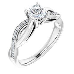 14K White 5.2 mm Round .07 CTW Diamond Semi-Set Engagement Ring