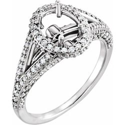 14K White 8.5x6.5 mm Oval 3/4 CTW Diamond Semi-Set Engagement Ring