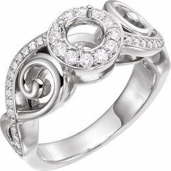 14K White 5.2 mm Round 3/8 CTW Diamond Semi-Set Engagement Ring