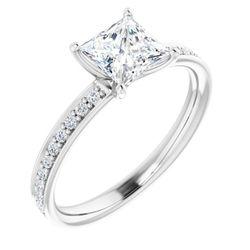18K White 5.5x5.5 mm Square 1/5 CTW Diamond Semi-Set Engagement Ring