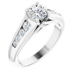 14K White 5.75 mm Round 1/4 CTW Diamond Semi-Set Engagement Ring