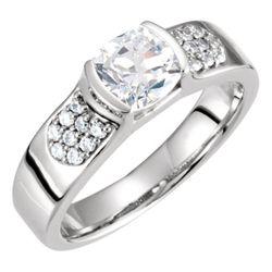 Platinum 6x6 mm Cushion 1/5 CTW Diamond Semi-Set Engagement Ring