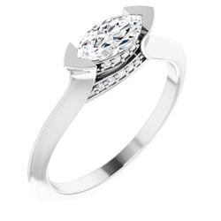 14K White 8x4 mm Marquise .05 CTW Diamond Semi-Set Engagement Ring