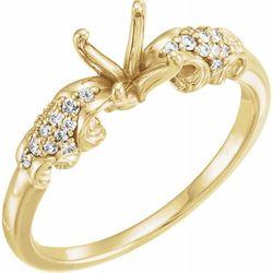 14K Yellow 7.4 mm Round 1/6 CTW Diamond Semi-Set Engagement Ring