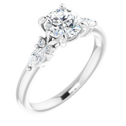 14K White 6.5 mm Round 1/4 CTW Diamond Semi-Set Engagement Ring