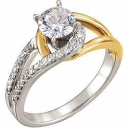 14K White & Yellow 5.2 mm Round 1/6 CTW Diamond Semi-Set Engagement Ring