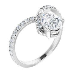 14K White 7x5 mm Pear 1/3 CTW Diamond Semi-Set Engagement Ring