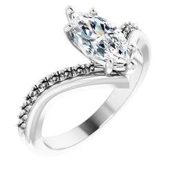 Platinum 10x5 mm Marquise 1/6 CTW Diamond Semi-Set Engagement Ring