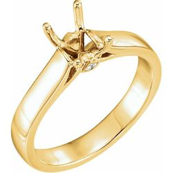 14K Yellow 7.5x5.5 mm Emerald .03 CTW Diamond Semi-Set Engagement Ring