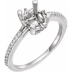 14K White 5x5 mm Square 1/6 CTW Diamond Semi-Set Engagement Ring