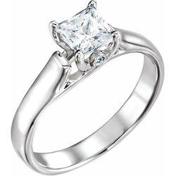 14K White .01 CTW Diamond Semi-Set Engagement Ring