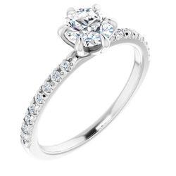 14K White 5.8 mm Round 1/6 CTW Diamond Semi-Set French-Set Engagement Ring
