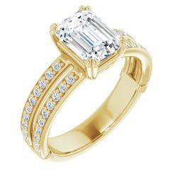 14K Yellow 8x6 mm Emerald 1/3 CTW Diamond Semi-Set Engagement Ring