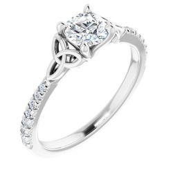 14K White 5.2 mm Round 1/6 CTW Diamond Semi-Set Celtic-Inspired French-Set Engagement Ring