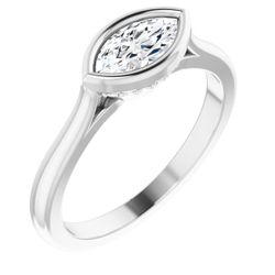 14K White 8x4 mm Marquise .07 CTW Diamond Semi-Set Engagement Ring