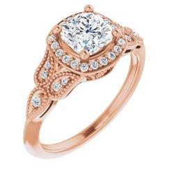 14K Rose 6x6 mm Cushion 1/8 CTW Diamond Semi-Set Engagement Ring