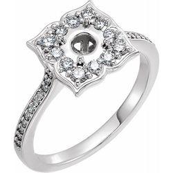 Platinum 5.2 mm Round 3/8 CTW Diamond Semi-Set Engagement Ring