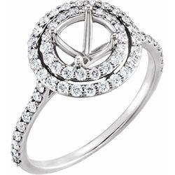 14K White 6.5 mm Round 5/8 CTW Diamond Semi-Set Engagement Ring