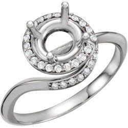 14K White 7.4 mm Round 1/8 CTW Diamond Semi-Set Engagement Ring
