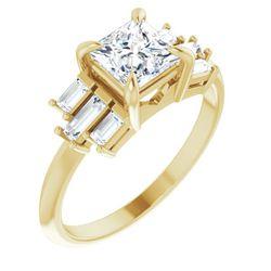 14K Yellow 5.5 mm Square 1/4 CTW Diamond Semi-Set Engagement Ring