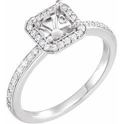 14K White 5.5x5.5 mm Square 1/6 CTW Diamond Semi-Set Engagement Ring