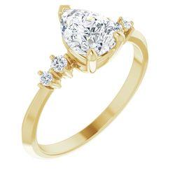14K Yellow 8x6 mm Pear 1/10 CTW Diamond Semi-Set Engagement Ring