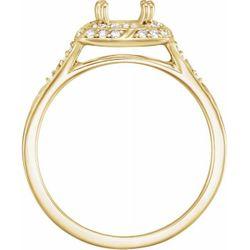 14K Yellow 5 mm Square 1/6 CTW Diamond Semi-Set Sculptural-Inspired Engagement Ring