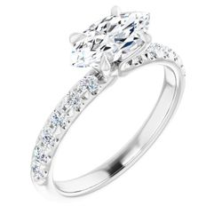Platinum 10x5 mm Marquise 1/3 CTW Diamond Semi-Set Engagement Ring
