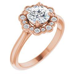 14K Rose 5.2 mm Round 1/8 CTW Diamond Semi-Set Engagement Ring