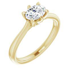 14K Yellow 7x5 mm Oval .03 CTW Diamond Semi-Set Engagement Ring