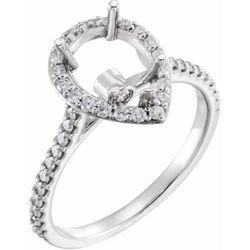 14K White 10x7 mm Pear 1/2 CTW Diamond Semi-Set Engagement Ring