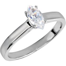 10K White .025 CTW Diamond Semi-Set Engagement Ring for 8x4.5 mm Marquise center