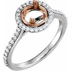14K White/Rose 5.8 mm Round 1/3 CTW Diamond Semi-Set Engagement Ring