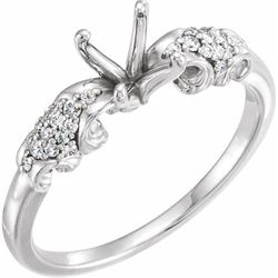 Platinum 7.4 mm Round 1/6 CTW Diamond Semi-Set Engagement Ring