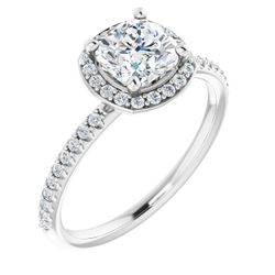 14K White 6x6 mm Cushion 1/5 CTW Diamond Semi-Set Engagement Ring