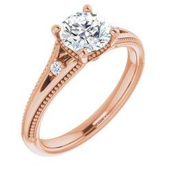 14K Rose 5.2 mm Round .04 CTW Diamond Semi-Set Engagement Ring