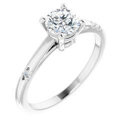 14K White 5.8 mm Round .03 CTW Diamond Semi-Set Engagement Ring