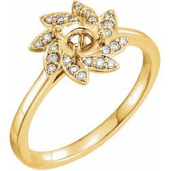 14K Yellow 5.2 mm Round 1/8 CTW Diamond Semi-Set Engagement Ring