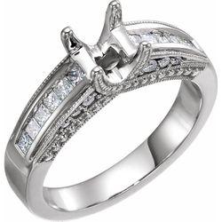 14K White 5 mm Square 1/2 CTW Diamond Semi-Set Engagement Ring