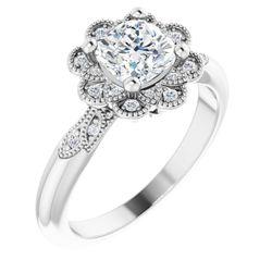 14K White 6 mm Cushion 1/8 CTW Diamond Semi-Set Halo-Style Engagement Ring