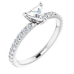 Platinum 5.5 mm Triangle 1/3 CTW Diamond Semi-Set French-Set Engagement Ring