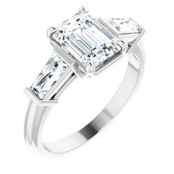 14K White 8x6 mm Emerald 1/2 CTW Diamond Semi-Set Diamond Engagement Ring