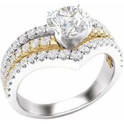 14K White & Yellow 5.2 mm Round 1/2 CTW Diamond Semi-Set Engagement Ring