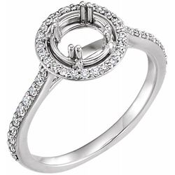 14K White 5.8 mm Round 1/4 CTW Diamond Semi-Set Engagement Ring