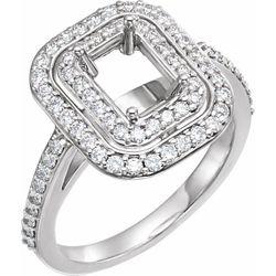 14K White 7x5 mm Emerald 5/8 CTW Diamond Semi-Set Engagement Ring