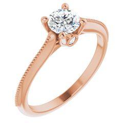 14K Rose 5.2 mm Round .03 CTW Diamond Semi-Set Engagement Ring