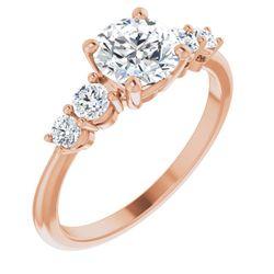 14K Rose 5.8 mm Round 1/3 CTW Diamond Semi-Set Accented Engagement Ring
