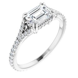 Platinum 7x5 mm Emerald 1/3 CTW Diamond Semi-Set French-Set Engagement Ring