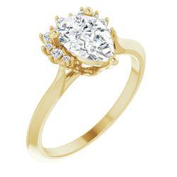 14K Yellow 9x6 mm Pear 1/10 CTW Diamond Semi-Set Engagement Ring